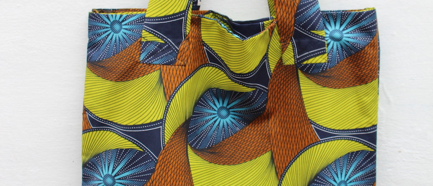 Tote Bag African Print Starbust Blue
