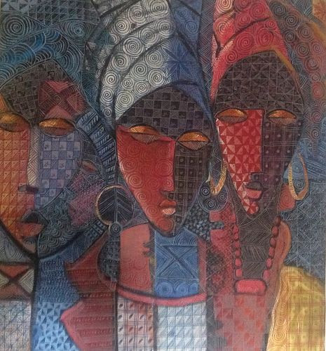 Family of Hope, 2003 -Nike Okundaye - Acrylic - Pen and Ink on Canvas - 30x30cm