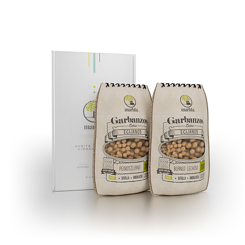Pack Estuche AOVE martita + 1kg Garbanzo Blanco + 1kg Garbanzo Pedrosillano