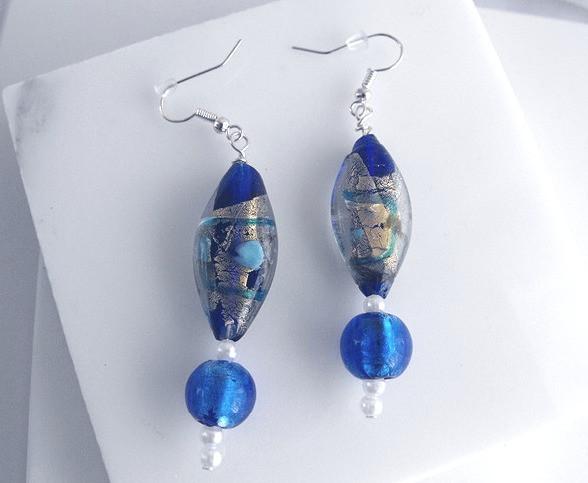 BLue Gold Glass earring handmade - ArtandPatterns