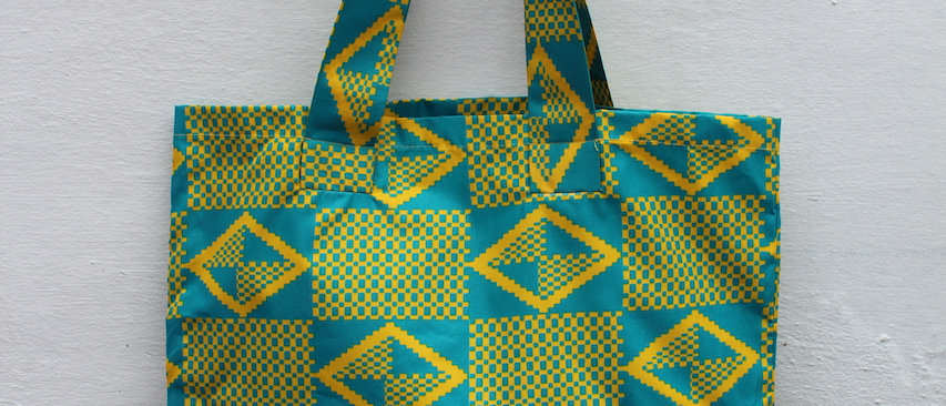 African Print Tote Bag Lemon Yellow and Green buy from ArtAndPatterns.com