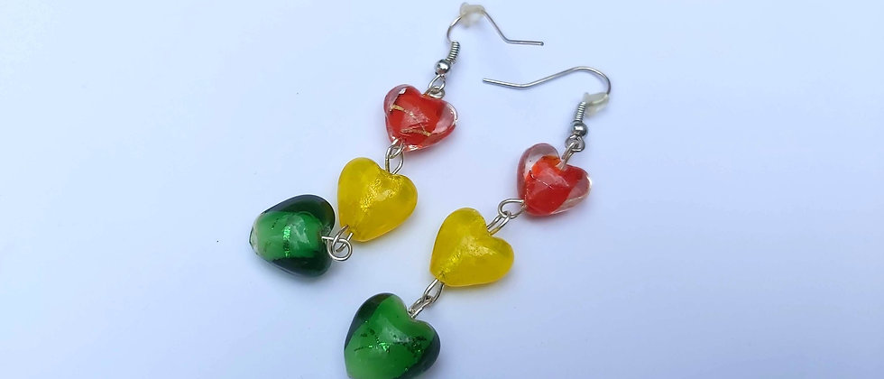 Carnival Sunshine Reggae Earrings - Red, Yellow and Green buy at AartAndPatterns.com