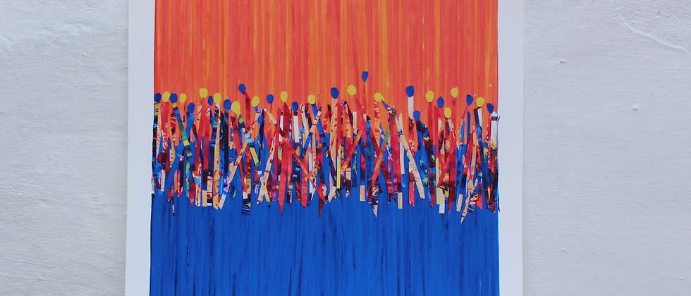 Carnival Sun Dance -Art Print Unframed - Blue Orange 40x40cm buy from ArtAndPatterns.com