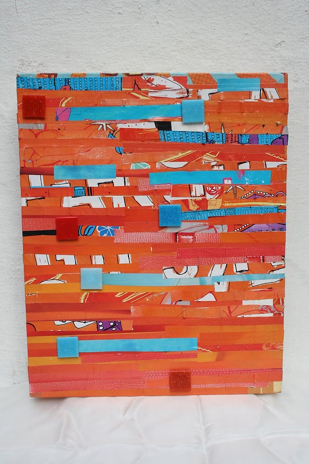 SOLD - Movement In Orange 25x28cm