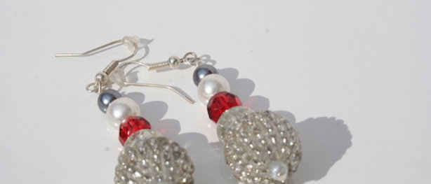 Pop Red and Silver Chandelier Bead Earrings buy at ArtAndPatterns.com