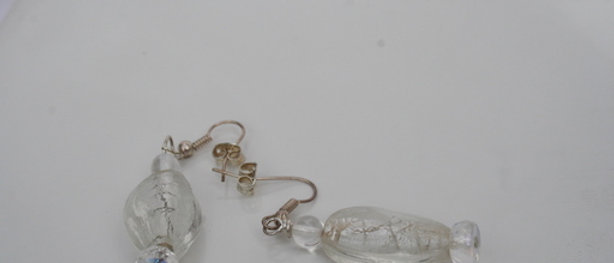 Earrings by artandpatterns.com Clear Glass shimmer