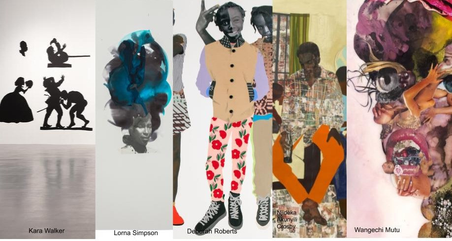 Art work Images of Black Female Collage Artist using Paper