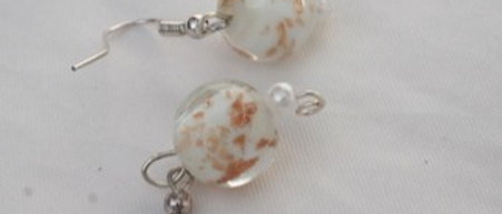 Round White and Gold Shimmer Glass Earrings  Buy at ArtAndPatterns.com