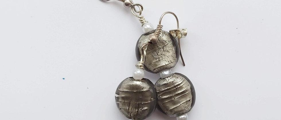 Grey Glass - Double Beaded - Drop Earrings buy at ArtAndPatterns.com