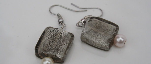 Square Mid Grey Czech Glass Earrings buy at artandpatterns.com