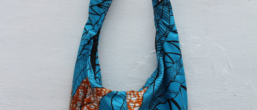 Shopper Bag African Print Ochre Blue