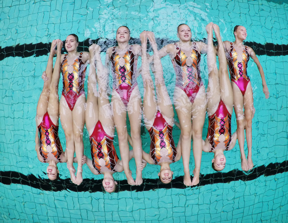 Synchroon zwemmers