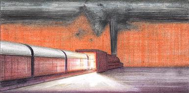 last station, tekening, drawing, train, trein,  illustratie, illustration