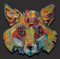 fox, vos, schilderij, kunst, Drie dimensionaal, Acryl op hout, Art, 3D, Three Dimensional, acrylic on wood, art, kunstenaar, artist, paper