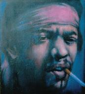 Jimi Hendrix, Schilderij, portret, acrylverf op doek, Portrait, Painting, Acrylic on Canvas, art kunst kunstenaar artist, jaren zestig, flower power