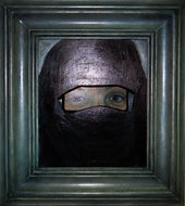 Rear-View, Mirror, moslim, schilderij kunst, Drie dimensionaal, Acryl op hout, Art, 3D, Three Dimensional, acrylic on wood, art, kunstenaar, artist