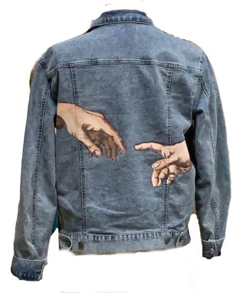 """Creation of Adam"" Replication on Denim Jacket"