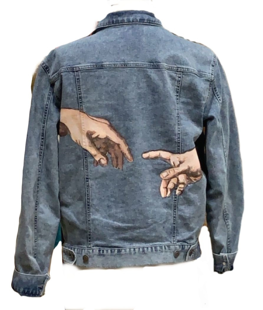 """Creation of Adam"" Replication on Denim Jacket"