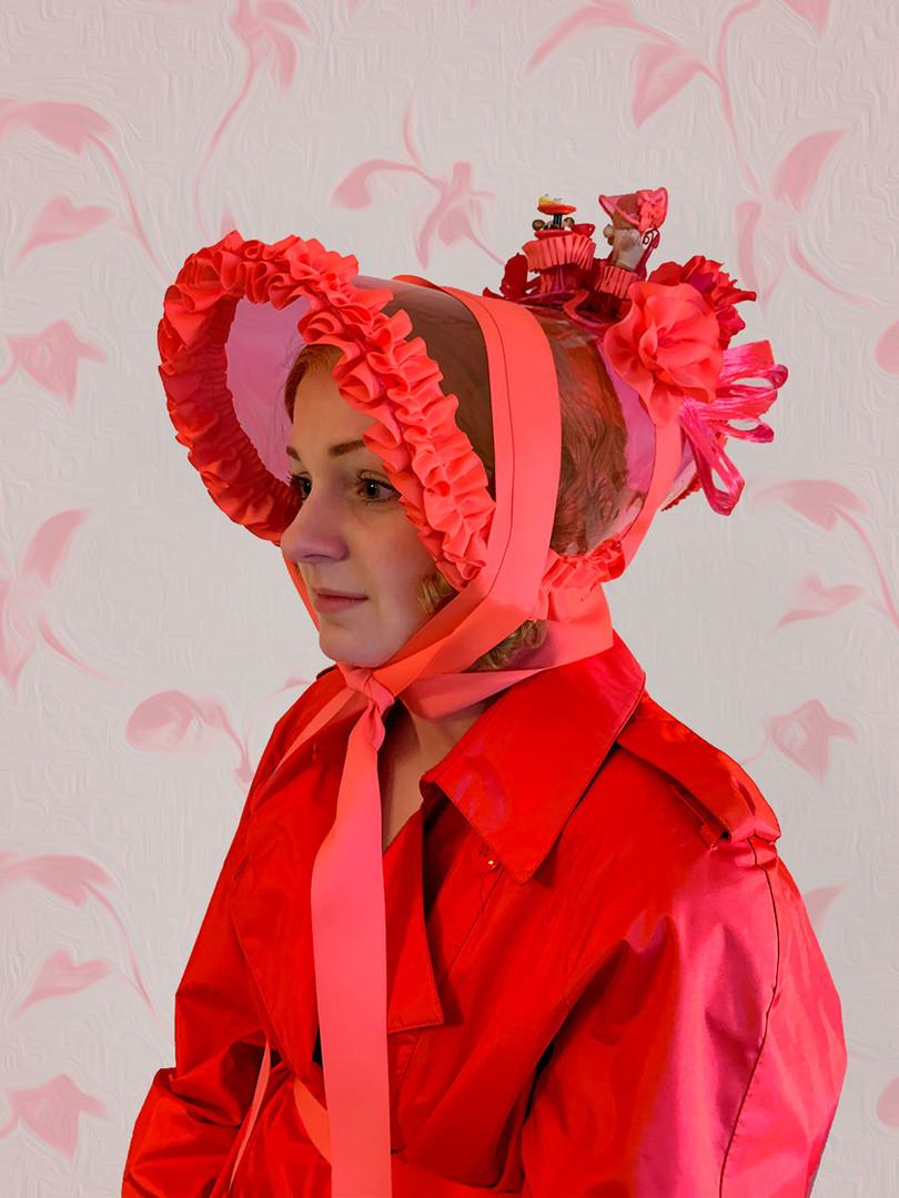 Neon Pink Vinyl Poke Bonnet