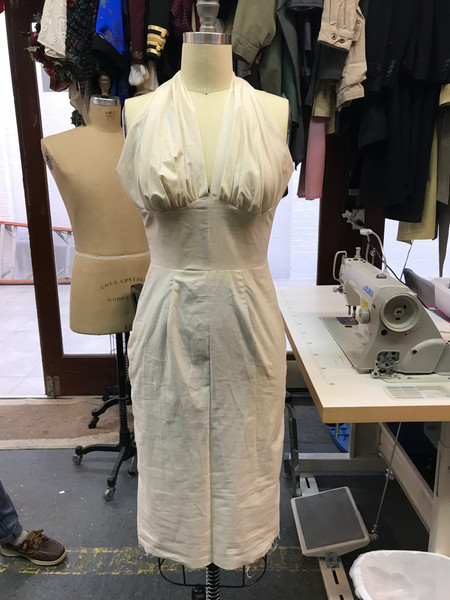 """Muslin Mock-Up of Eva Peron's Magenta Halter Dress in """"And the Money Kept Rolling In (and Out)"""""""