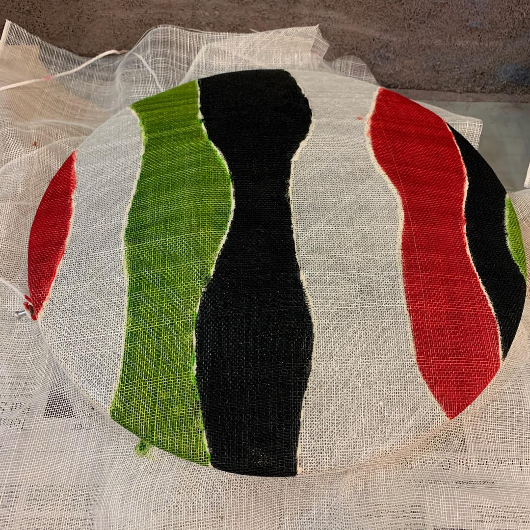 Procion Dye/Sodium Alginate Painted Sinamay