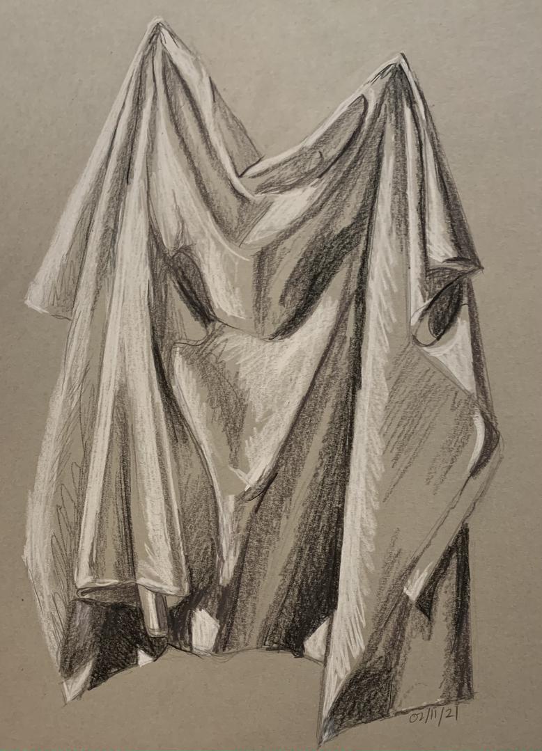 Halftone sketch of draped fabric