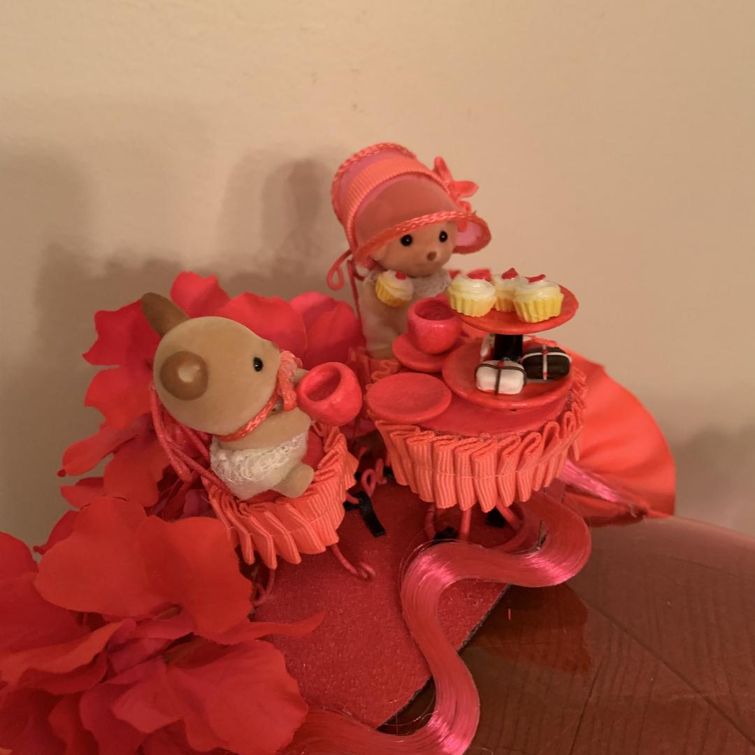 Neon Pink Vinyl Poke Bonnet - The Miniature Tea Party