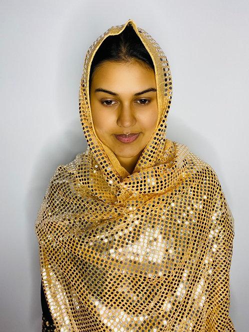 Gold Sequin Print Veil