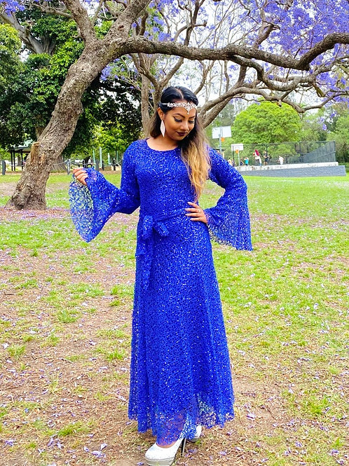 Sequin Lace Up Flare Sleeve Maxi Dress