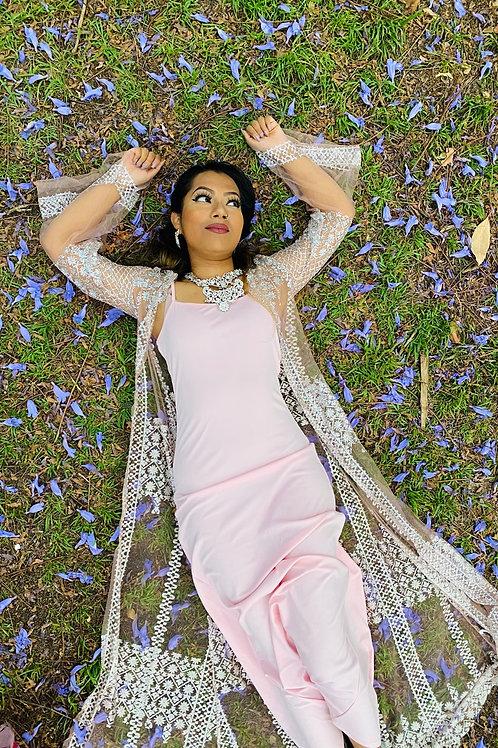 Sequin Long Sleeve Cardigan Abaya Dress