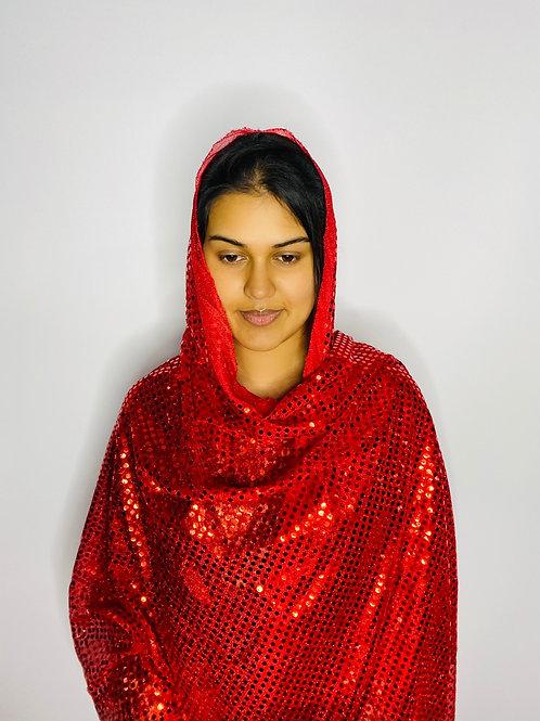 Red Sequin Print Veil