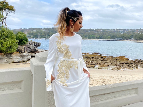 Embroidered Cardigan Long Robe Dress