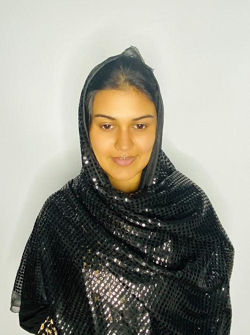 Black Sequin Print Veil