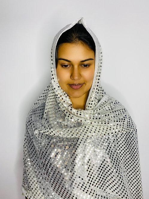 White Sequin Print Veil
