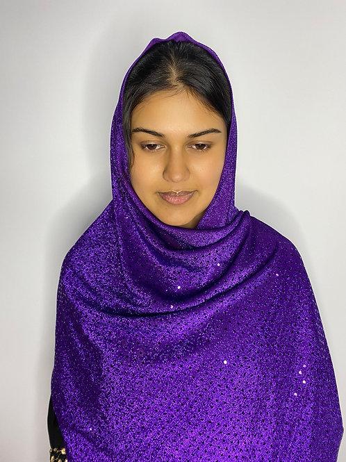 Purple Sequin Print Veil