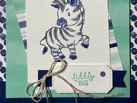 Zany Zebra Baby Shower Card