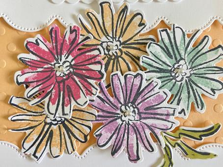 Multi-Color Flowers Birthday Card with Color & Contour Bundle