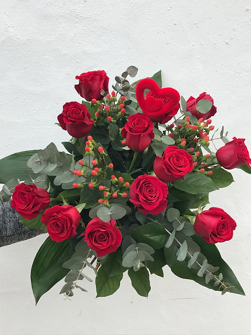 12 Red Roses with Heart
