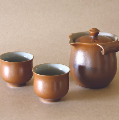 Tear-Drop Spout Gaiwan & 2 Cups, Amber