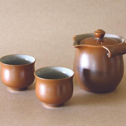 Tear-Drop Spout Gaiwan & 2 Cups, Amber