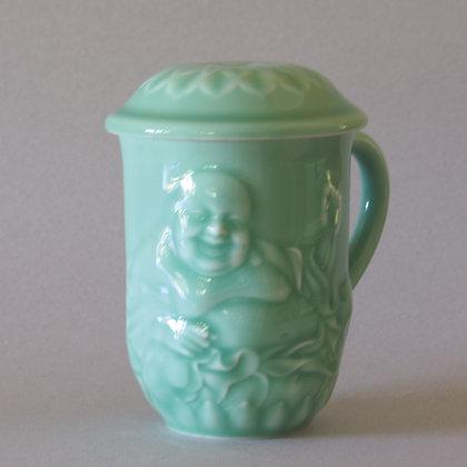 Hotei Mug with Lotus Lid, Celadon