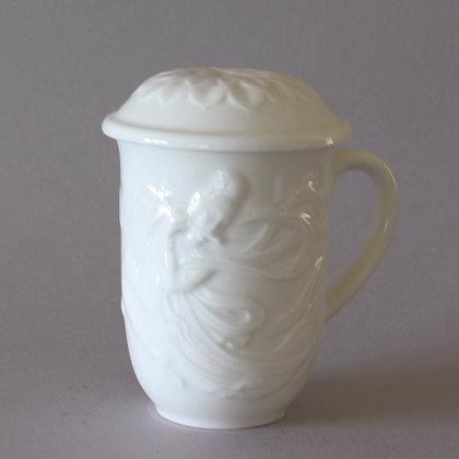 Celestial Maiden Mug with Lotus Lid, White