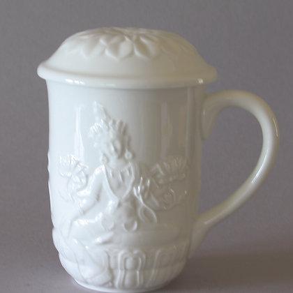 Tara Mug with Lotus Lid, White
