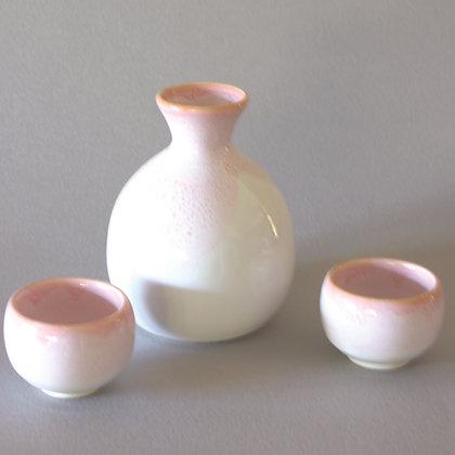 Cherry Sake Set, 1 Bottle & 2 Cups, Round
