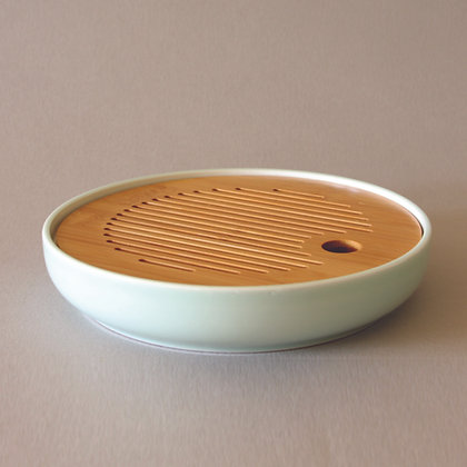 Circle Tea Boat, Ceramic & Bamboo, Celadon (S)