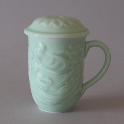 Celestial Maiden Mug with Lotus Lid, Celadon