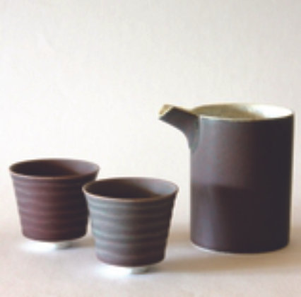 Open Sake Set, 1 Bottle and 2 Cups