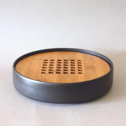 Circle Tea Boat, Ceramic & Bamboo, Black (L)
