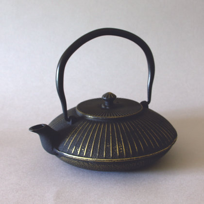 Iron Tea Pot, Saucer Form, Gold Finish