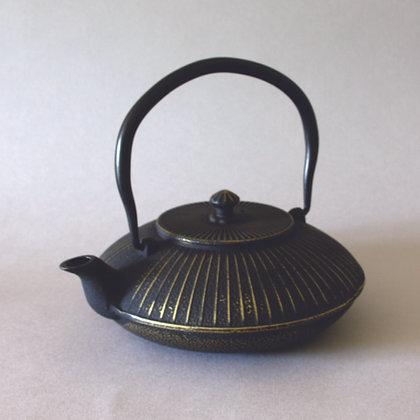 Iron Tea Pot, Saucer Form, Gold Finish